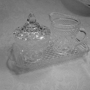 Vintage Sugar Bowl creamer and platter